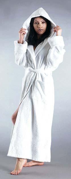 13 oz/yd2 100 % Cotton Terry Bathrobe. Style Full Length Hooded. Turn